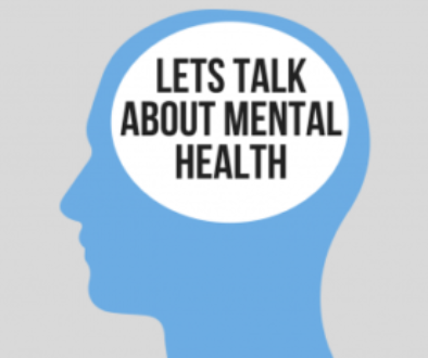 "The silhouette of a head with the text ""let's talk about mental health"""