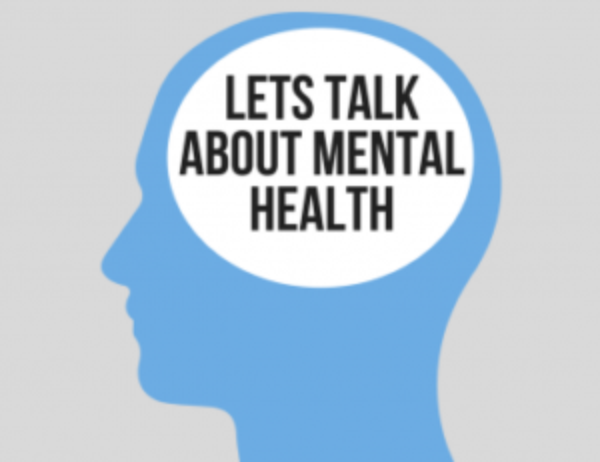"""The silhouette of a head with the text """"let's talk about mental health"""""""