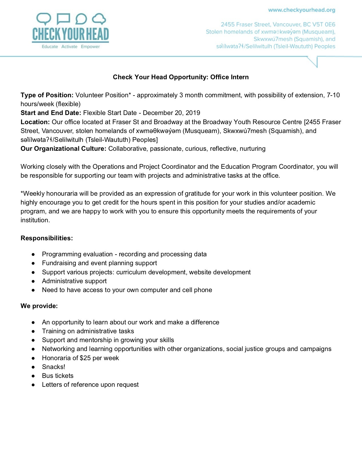 Check Your Head Opportunity - Office Intern