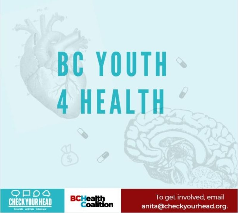 "A graphic with a brain, heart, pills and a moneybag and the text, ""BC Youth 4 Health"". Below this is a footer with the CYH logo, the BC Health Coalition logo, and the text, ""to get involved, email anita@checkyourhead.org""."
